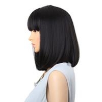 Amir Liso Preto sintético perucas com franja para as Mulheres Comprimento Médio Cabelo Bob peruca resistente ao calor bobo perucas Penteado Cosplay