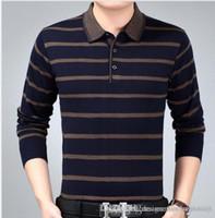 Yeni Erkek Örgü Çizgili Polos Moda Baba Giyim Erkekler Tasarımcı Polo Tişört Sonbahar İlkbahar İş Tops