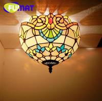 FUMAT Tiffany Avrupa Tavan Lambaları Pastoral Amerikan Oturma Odası Restaurant Tavan Işıkları Vitray Aydınlatmaları Yatak Odası Için
