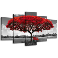 Amosi Art- 5 Panels Red Tree Canvas Painting Flowers Wall Art...