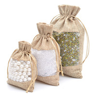 2019 50 piezas de bolsas de yute de organza Bolsa de arpillera con cordón 10x14 / 13x18 / 16x22cm Favores de banquetes de boda Bolsas de regalo para dulces Maquillaje Embalaje de joyas