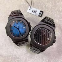 U1 Fabrika Yeni Model Siyah Durumda İki Renk PP Otomatik Hareket Mekanik Hareketi Oyma 40mm BlackBlue Dial Tarih Cenevre Erkek Saatler