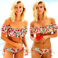 Femmes Deux pièces florales Ensemble bikini volantée hors de bikini à volants Maillots de bain Maillot de bain Maillot de bain Beachwear Biquini