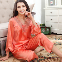 2019 Silk Pajamas For Women Pink Nightwear Spring Solid Slee...