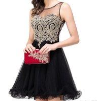 Cheap Golden Pizzo Black Black Chiffon Cakecoming Abiti Brevi Abiti da ballo Vestido De Festa Curto Plus Size Prom Dresses