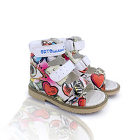 Ortoluckland Girls red flatfeet sandals rigid orthopedic lea...