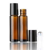 10pcs / lot 10ml ROLL ON Flaschen für Fragrance PARFUM ätherisches Öl Flasche mit Stahlmetall Roller Ball Kostenloser Versand