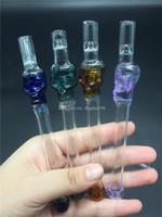 Coloré Pyrex bon marché tube crâne verre courbé tabac crâne Pipes pour Fumer main en verre cristal Collection tubes de brûleurs à mazout de fumer