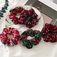 Natale Giorno Scrunchie Hairband Foral Scrunchy fascia capelli del Ponytail Holder corda Fiori Flamingo copricapo zampa di gallina Capelli Accessori