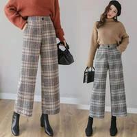 Mujer de la tela escocesa de color caqui pantalones de cintura alta anchas piernas gris del diseñador de las mujeres de las bragas de lujo rectos flojos pantalones de poliéster de mujer s-L