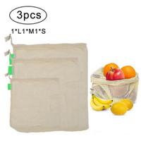 3 Stück Gemüseaufbewahrungsbeutel wiederverwendbar landwirtschaftliche Erzeugnisse Gürtel Baumwolle Netbag Haushaltsküche Speicherprodukte XD22691