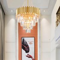 lámparas de araña de acero inoxidable largo de techo moderna K9 de la iluminación cristalina de la lámpara de lujo de oro para la construcción ático dúplex escaleras
