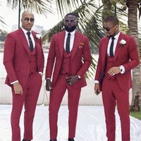 Dark Red Slim Fit Groomsmen Tuxedos Business Party Prom Men ...