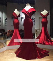 2019 Real Photos Simple Red Satin Mermaid Prom Dresses Off- t...