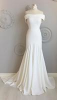 Vintage billige Hochzeitskleid Meerjungfrau von der Schulter mit kurzen Ärmeln Satin Hohe Qualität Gericht Zug bescheidene Hochzeit Brautkleider Neue