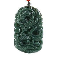 Pendente della collana del drago della giada di Qing intagliato a mano naturale puro Dimensioni: 50mm * 31mm Y19051602