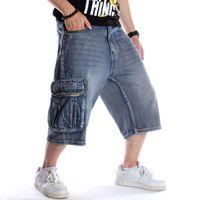 Männer lose Hip Hop Taschen Cargo-Jeans-Shorts plus große Größe Letters Stickerei Jeans Skateboard Street