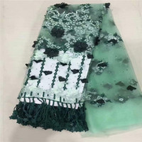 French Green White Lace Fabric beads Tulle Net Fabric 2019 H...