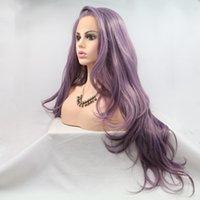 여자를 위한 긴 파도치는 방열 섬유 합성 레이스 정면 라벤더 자주색 가발을 보기