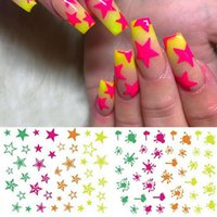 Peut Design Mix 3D Nail Art Decal Stickers Etoiles Neon Splatter Blob flash Summer Nails Outils de manucure acrylique