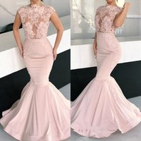 2019 Pink Mermaid Evening Dresses Arabic High Neck Cap Sleev...