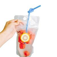 Stand-up beber suco Bag 13 * 22,5 centímetros bebidas Leite Líquido suco de embalagem Bag Limpar Seal Beba Saco com palhas OOA7999
