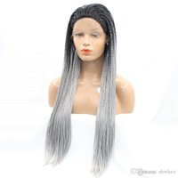 Synthetic Ombre Braided Wig Silver Gray Color Long Baids Wig...