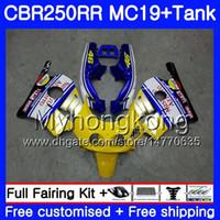 Molde de inyección para HONDA CBR 250RR MC19 CBR250RR 1988 1989 amarillo azul nuevo Cuerpo 261HM.42 CBR 250 RR 250R CBR250 RR 88 89 Kit de carenado + tanque