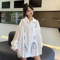 As camisas das mulheres simples com cordão frouxo completo manga mulher blusa branca roupa de moda primavera queda nova camisa casual
