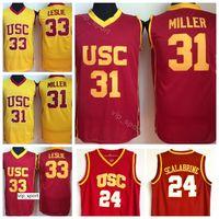 USC Trojans College Brian Scalabrine Jersey 24 Matt Miller 31 Lisa Lesa Leslie Jersey 33 Universidade Basquete Uniforme Equipe Cor Vermelho Amarelo