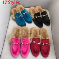 Classic donne mezze pantofole autentica morbida vacchetta piatto fondo metallo fibbia capelli pantofole Designers scarpe donna calda lana pantofole femminili
