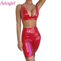 Adogirl Pure Women Sexy PU Leather Two Piece Set Deep V Neck...