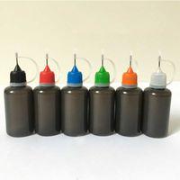 Bouteille liquide 10ml 30ml d'Ecig de PE liquide en plastique d'huile de PE avec le remplisseur d'aiguille en métal de trou d'épingle PE coloré en plastique d'huile de bouchon