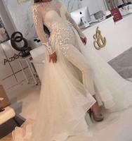 2020 겸손한 Jumpsuit 웨딩 드레스 스팽글 긴팔 오버 스커트 오르간 자 레이스 Applique 스쿠프 넥 맞춤형 웨딩 드레스