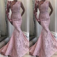 2021 Дубай розовые длинные вечерние платья с длинными рукавами Mermid полное кружевное выпускные платья бисером арабская уникальная мать невесты носить
