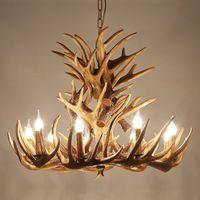 Europa Land 9 Kopf Kerze Geweih Kronleuchter Amerikanischen Retro Harz Hirschhorn Lampen Dekoration Beleuchtung E14 110-240 V