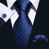 شحن سريع الأزرق رجل العلاقات المنديل أزرار أكمام تصميم الأزياء الجديدة الحرير الأصفر دوت الرقبة العلاقات لرجل بوسنس N-5095