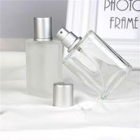 30ML الأزياء المحمولة صقيع زجاجة عطر الزجاج مع البخاخة الألومنيوم فارغة التجميل الحاويات للسفر