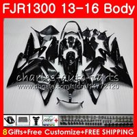 Cuerpo para YAMAHA FJR 1300 FJR1300A FJR1300 13 14 15 16 121HM.0 FJR1300 A FJR-1300A FJR-1300 2013 2014 2015 2016 kit de carenado TODO Negro brillante
