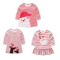여자 아기 크리스마스 사슴 산타 클로스 드레스 만화 어린이 스트라이프 공주 드레스 크리스마스 아이 의상 C2573