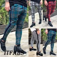 Pantalon Survêtement Hommes Fitness Workout Joggers Gym Plaid Sweatpants Sport Pantalons longs Avec Pockets1