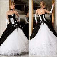 Abiti da sposa in bianco e nero vintage abiti da sposa abiti da sposa Vendita calda Corsetto Backless Victorian Gothic Plus Size Abiti da sposa Bridals Spedizione gratuita