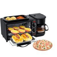 3 in 1 elektrikli kahvaltı makinesi İşlevli kahve makinesi kızartma tavası mini fırın ev ekmek pizza fırın kızartma tavası