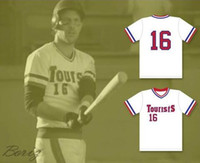 Barato Mens Kevin Costner Crash Davis 16 Turistas Jersey Baseball Bull Durham Camisas De Beisebol O Sandlot Preto Cinza Branco Costurado Camisa