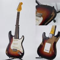 De alta calidad hechos a mano de guitarra eléctrica santa de reliquias culturales, de color rojo puesta de sol de álamo, mástil de arce, partes de guitarra de edad, la entrega gratuita