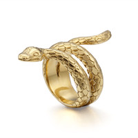 Men Cobra Model 18K Gold Plated Punk Ring Silver Plated Luxu...