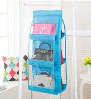 7 ألوان الرئيسية 6 جيوب حقيبة يد محفظة حقيبة التخزين شنقا كتب منظم خزانة خزانة شماعات مزدوجة من جانب EEA1419-6 شفاف طوي