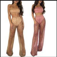 Frauen Sheer Overall-Spielanzug Sommer-Art- und Ineinander greifen Designer Weibliche 2PC Hose Sexy Damen dünne Spitze Kleid