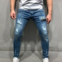 CYSINCOS Uomo Stretchy Strappato Skinny Biker Ricamo Stampa Jeans Destroyed Hole Taped Slim Fit Denim graffiato Jean alta qualità