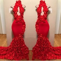 2019 Red Mermaid Prom Dresses High Neck Keyhole Flowers Ruff...